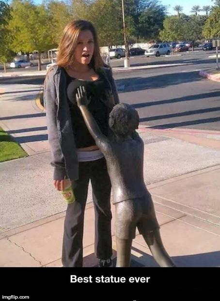 Image tagged in funny,statue