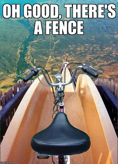 Image tagged in funny | OH GOOD, THERE'S A FENCE