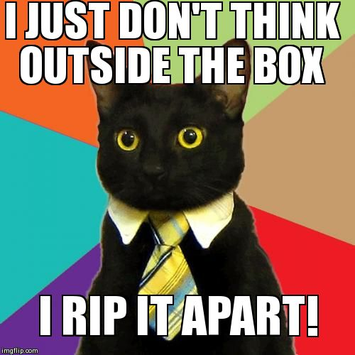 Image tagged in memes,business cat | I JUST DON'T THINK OUTSIDE THE BOX I RIP IT APART!